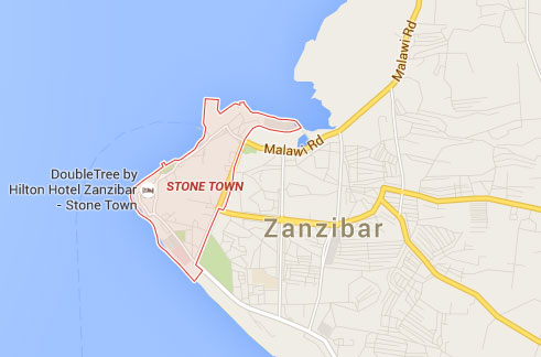 stone town location on Zanzibar map
